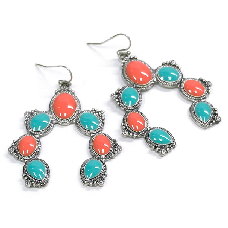Turquoise And Red Squash Blossom Earrings
