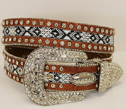 Aztec Rhinestone Western Belt - It's A Cowgirl Thing Boutique
