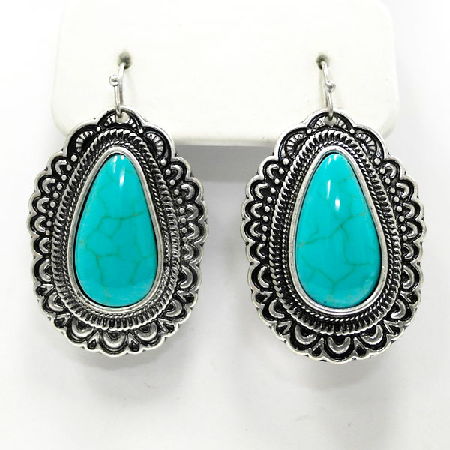 Silver Cowgirl Turquoise Earrings