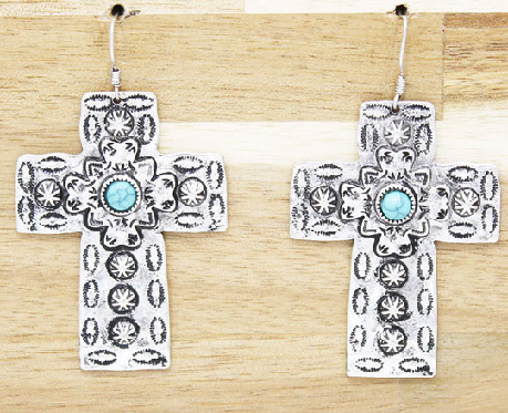 Silver Tribal Cross Earrings