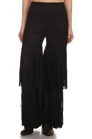 Bring It On Black Suede Fringe Pants - It's A Cowgirl Thing Boutique