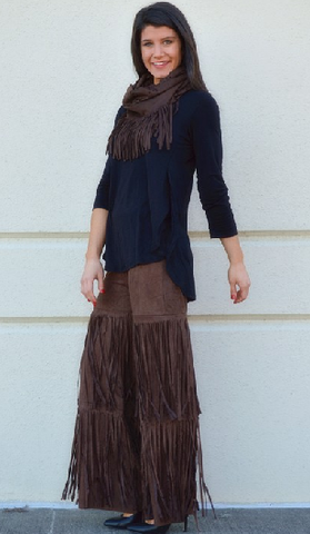 Bring It On Chocolate Suede Fringe Pants - It's A Cowgirl Thing Boutique