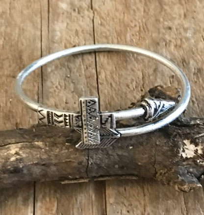 Cross Arrow Bangle Bracelet