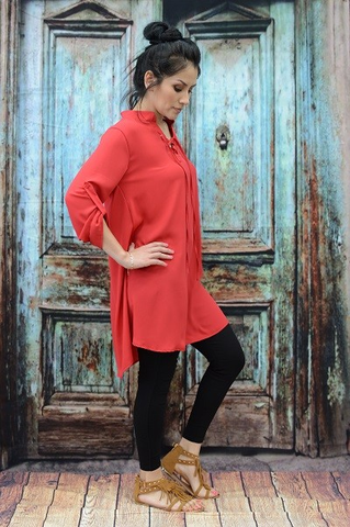 ! 0 Boyfriend Shirt Style Red Dress