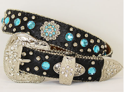 Black Rhinestone Concho Kids Western Belt - It's A Cowgirl Thing Boutique