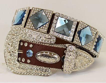 Prism Cut Diamond Crystal Western Belt