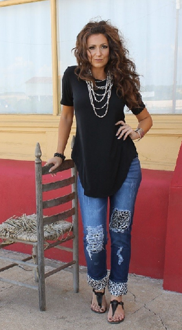 Ripped And Boyfriend Cheetah Jeans - It's A Cowgirl Thing Boutique