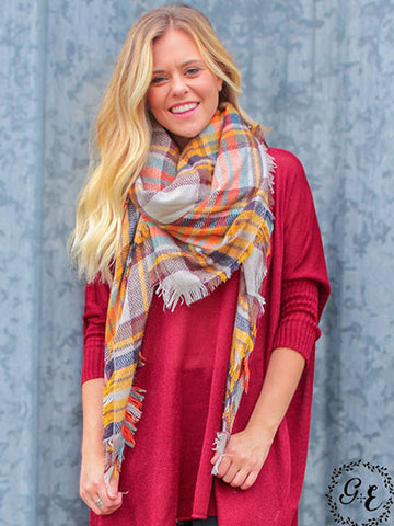 Shades of Autumn Plaid Blanket Scarf