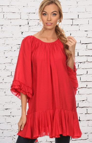 Park City Red Vintage Ruffle Tunic Top