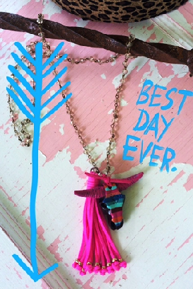 Turquoise Junkie Serape Longhorns Necklace