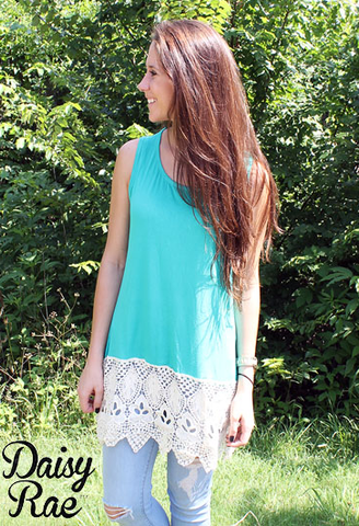 Turquoise and Cream Lace Tank Top