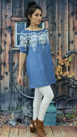 ! 0 Blue Denim Embroidered Tunic Top