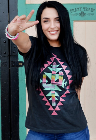 ! 1 Crazy Train Arizona Aztec Cactus Tee
