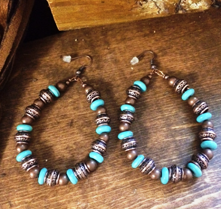 Arizona Bronze Metal Turquoise Earrings