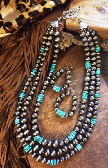 1 Arizona Navajo Pearl Turquoise Necklace Set - It's A Cowgirl Thing Boutique