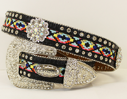 Aztec Rhinestone Concho Western Belt - It's A Cowgirl Thing Boutique