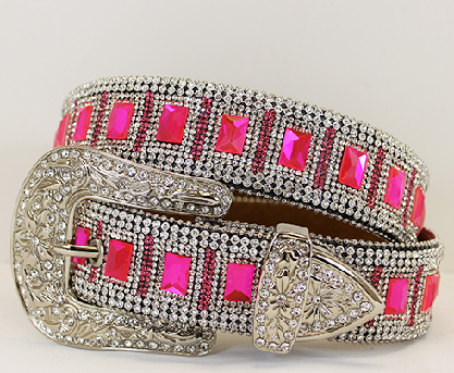 Full Crystal Pink Rhinestone Crystal Western Belt - It's A Cowgirl Thing Boutique