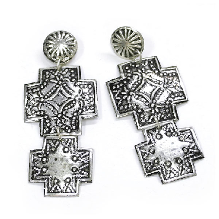 Silver Cowgirl Cross Earrings