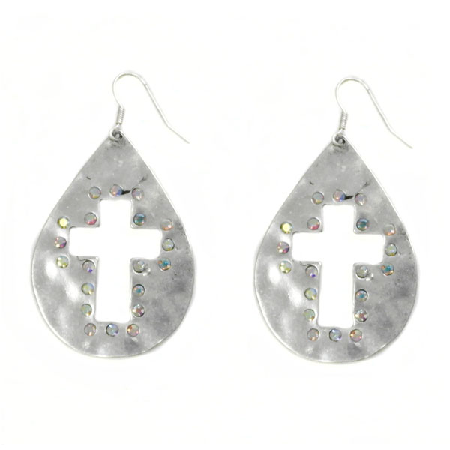 Silver Rhinestone Cowgirl Western Cross Earrings