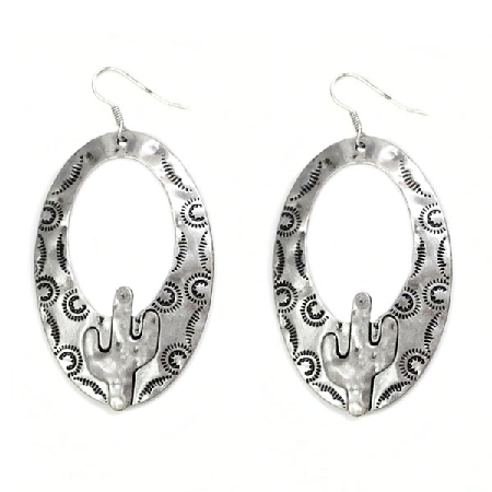 Silver Cowgirl Western Cactus Earrings