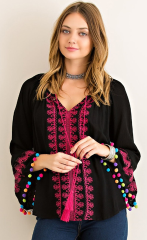 Ruidose Embroidered Pom Pom Top - It's A Cowgirl Thing Boutique