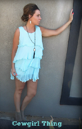 Mint Layered In Ruffles Tunic Dress - It's A Cowgirl Thing Boutique