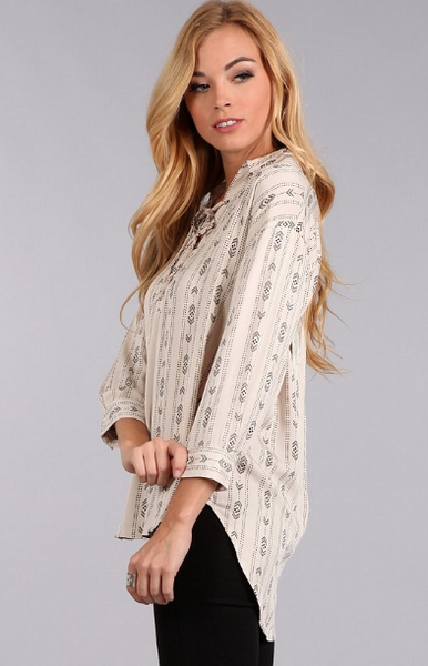 Tucson Tribal Print Boyfriend Top - It's A Cowgirl Thing Boutique