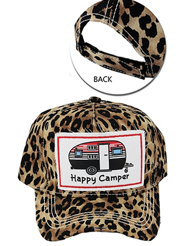 ! 1 Cheetah Happy Camper Baseball Cap