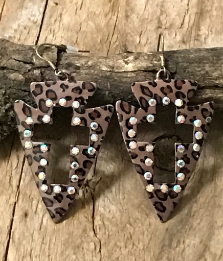 Cheetah Arrowhead Earrings