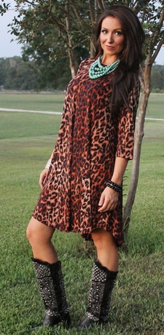 1 Cheetah Relax Fit Dress - It's A Cowgirl Thing Boutique