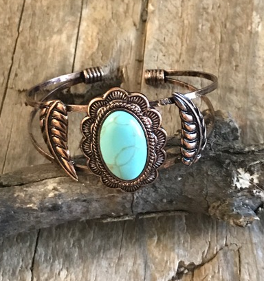 Copper Turquoise Cuff Bracelet