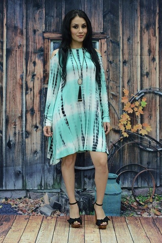 ! 0 Tie Dye Mint Open Shoulder Dress