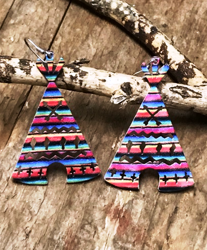 Serape Tee Pee Earrings