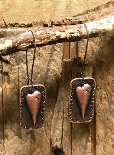 * Handmade Rustic Heart Earrings