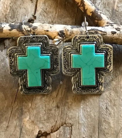 Silver Cowgirl Turquoise Cross Earrings