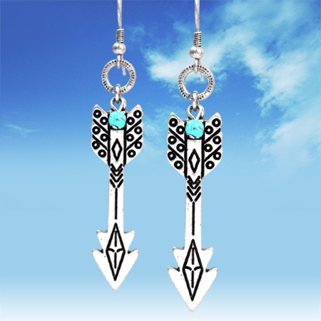 Silver Aztec Arrow Earrings