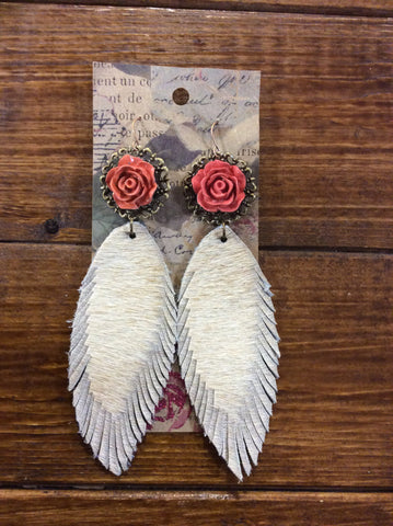 ! 1 Ranch Hand Leather Feather Earrings