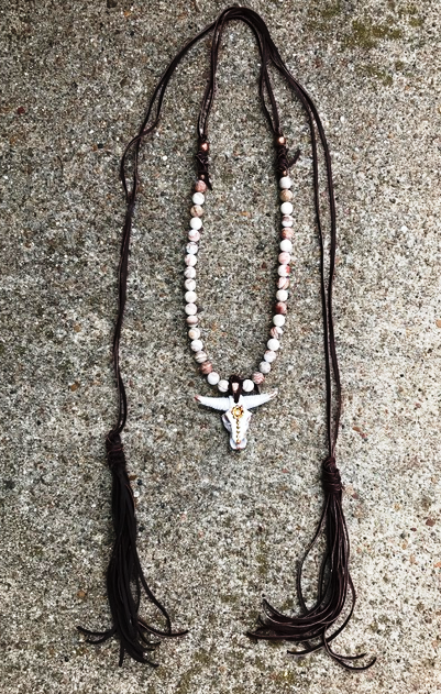 * Arizona Longhorn Leather Tassel Necklace