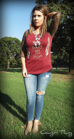 Make Me Brave Baseball Tee - It's A Cowgirl Thing Boutique