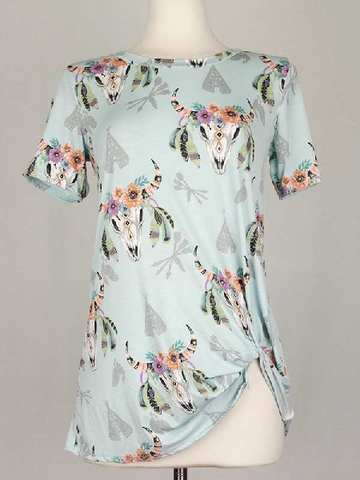 ! 0 A Mint Floral Bull Skull Reverse Tie Tee