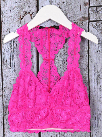 Neon Pink Lace Bralette - It's A Cowgirl Thing Boutique
