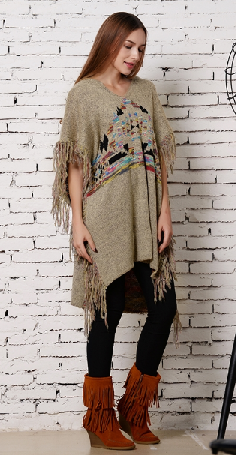 Beige Fringe Hoodie Tribal Poncho - It's A Cowgirl Thing Boutique