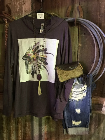 * A Purple Watercolor Headdress Hoodie