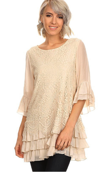 Frankfurt Vintage Cream Lace Top