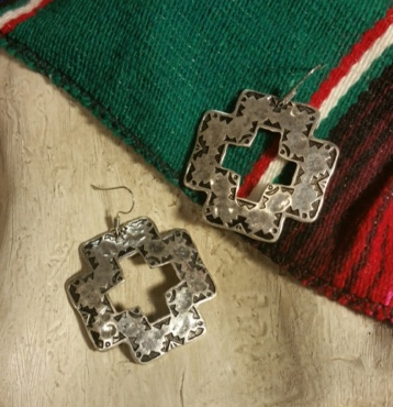 Silver Square Cross Aztec Earrings - It's A Cowgirl Thing Boutique