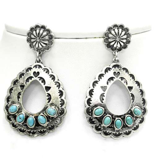 Silver Turquoise Cowgirl Earrings