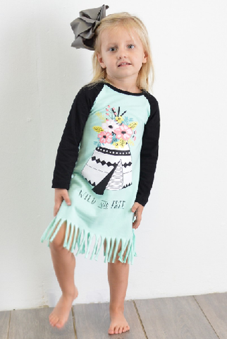 Kids Tee Pee Fringe Dress