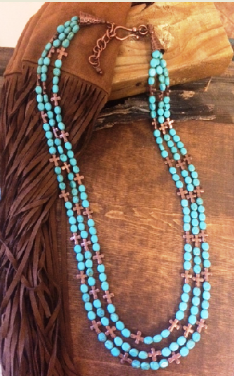 Turquoise Copper Cross Necklace