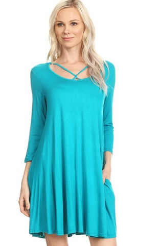 A Turquoise Pocket Swing Cross Over Tunic Dress
