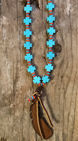 ! Turquoise And Red Feather Cross Necklace